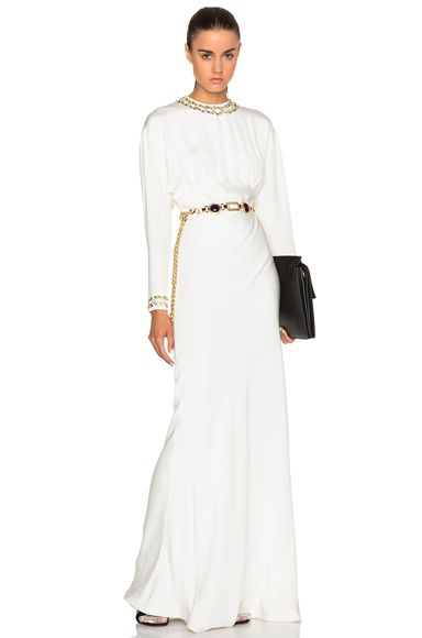 Drape Silk Dress with Embroidered Chain Collar