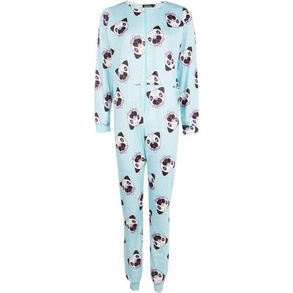 Boohoo Olivia Pug Print Onesie ($30) ❤ liked on Polyvore featuring intimates and sleepwear