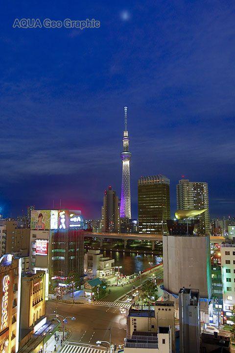 浅草の街夜景と東京スカイツリーライトアップ 雅