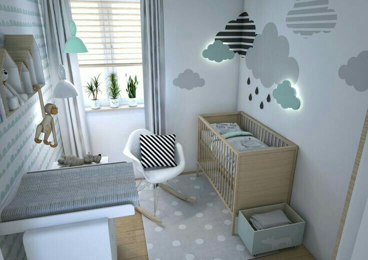 chambre bb moderne couleur pastel vert deau gris nuage