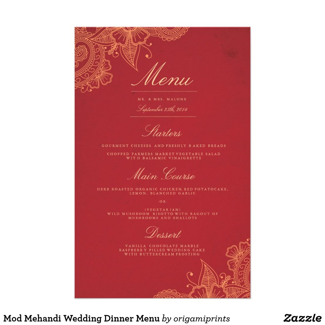 Mod Mehandi Wedding Dinner Menu Elegant henna inspired wedding ...