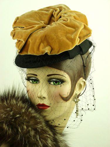 Vintage Hat 1940s Black Felt Tilt Hat Fine Veil Velvet Mushroom Top Stunning | eBay