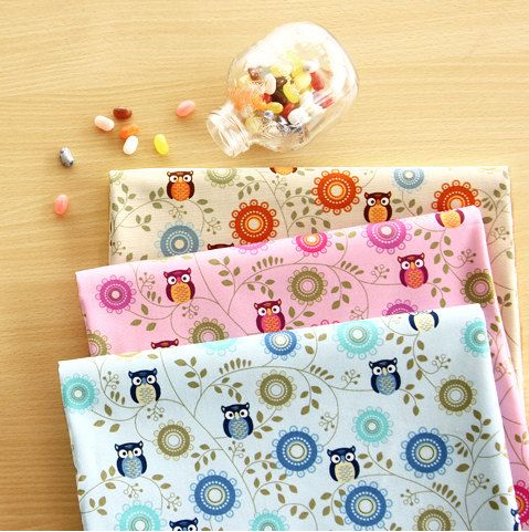 Kawaii owl pattern cotton