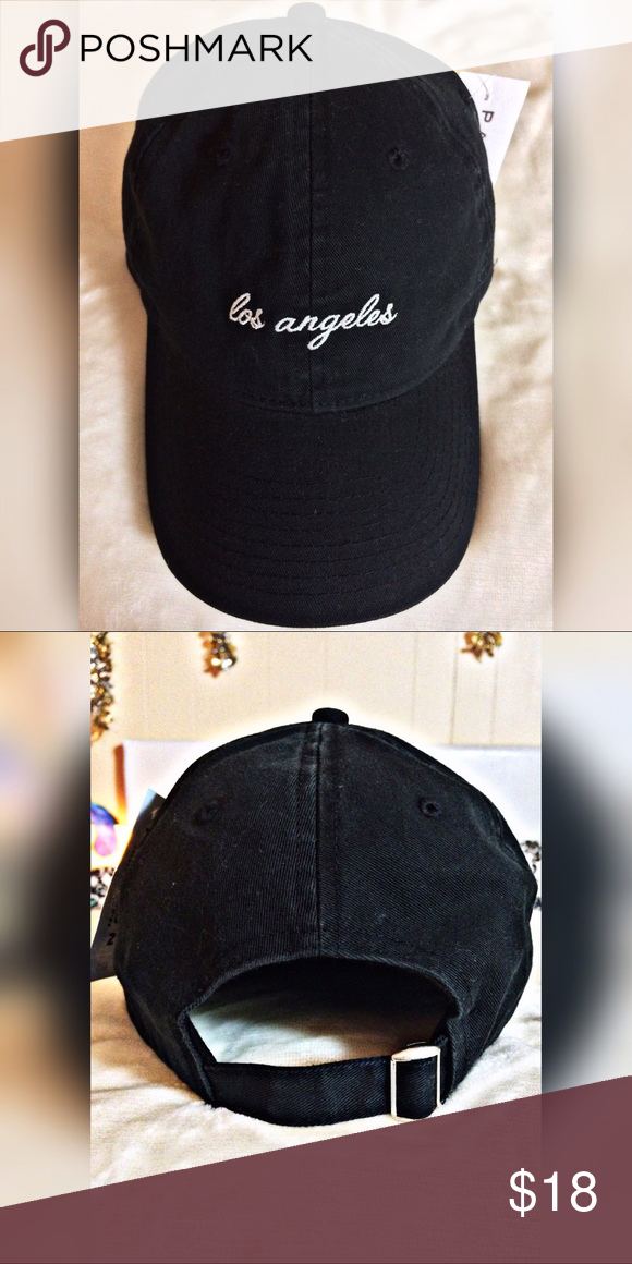 bd097246117 ... Dad Hat LOS ANGELES Dad Hat in Black New With Tags✨ Adjustable back for  needed fit. O S☺ Bundle Any Three+ Items at 15% OFF PacSun Accessories Hats
