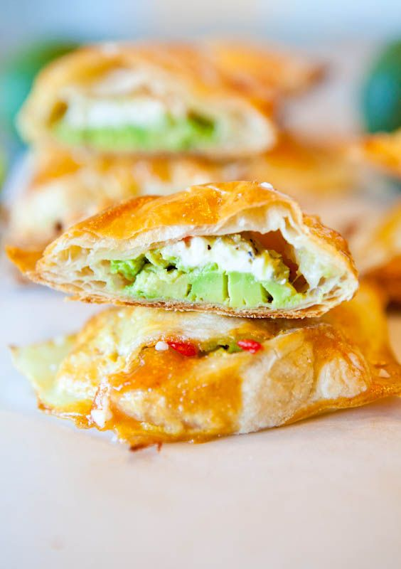 Avocado, chicken, cream cheese, salsa puffs.