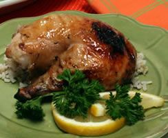 Lemony Herb-Glazed Roasted Chicken : Diabetic Gourmet Magazine