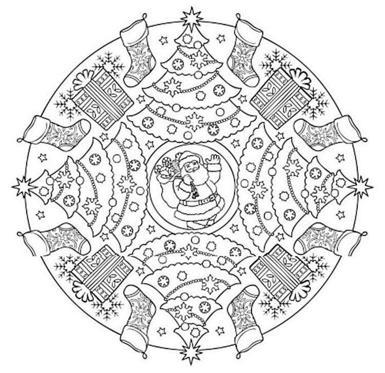 Mandala 613, Christmas Designs 3D Coloring Book, Dover