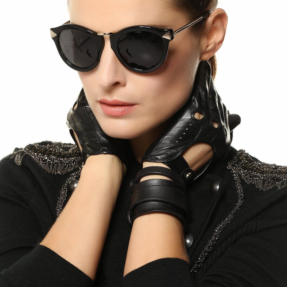 Xs black leather gloves - Elma Tradional Women S Italian Nappa Leather Gloves Motorcycle Driving Open Back Xs Black