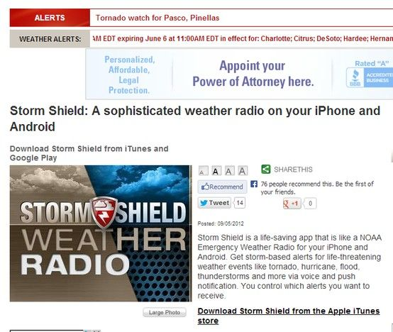 Storm Shield a sophisticated weather radio on your iPhone