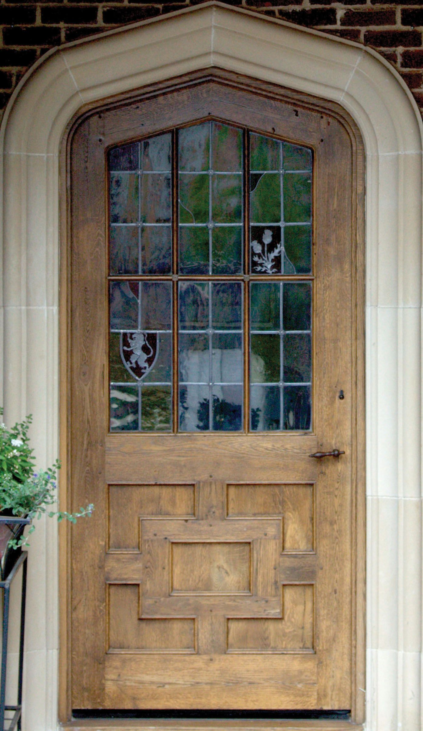 Architecture design English door with stained glass