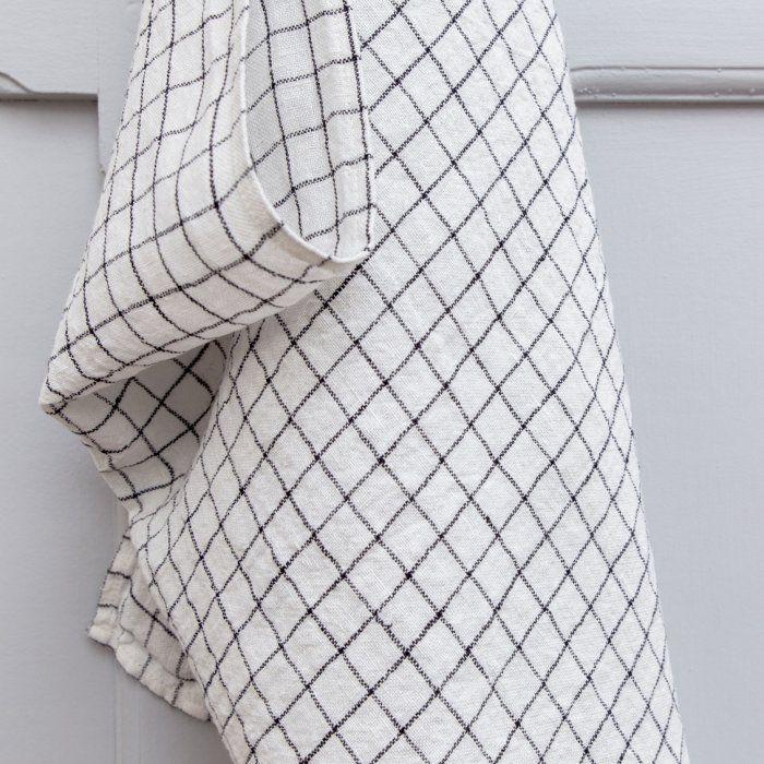 LE PETIT FLORILEGE - Torchon en lin à carreaux blanc et noir