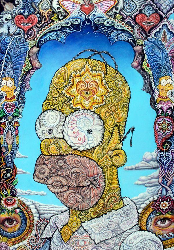 Portrait of Homer Simpson – by artist Randal Roberts | Homer simpson ...