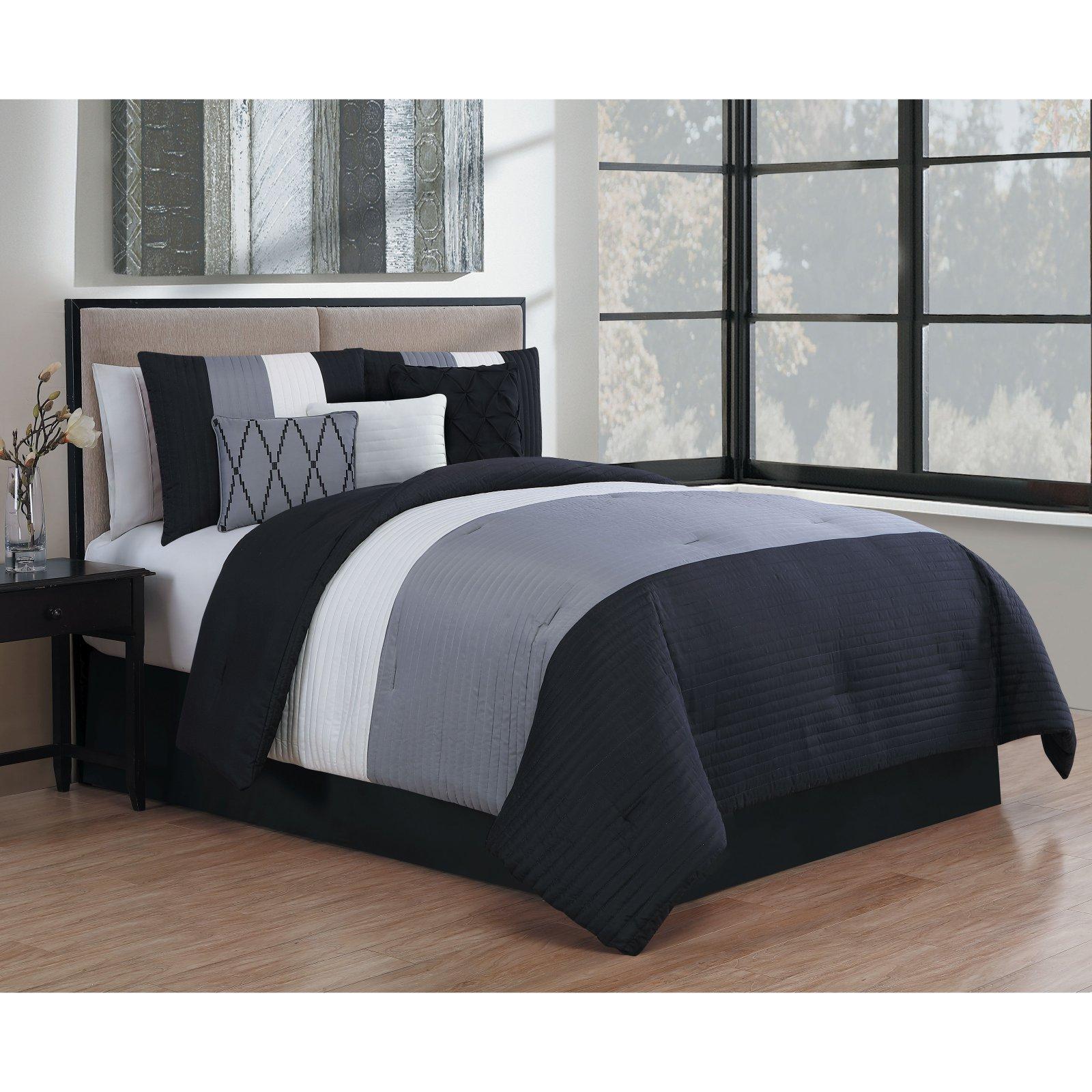 Manchester 7 Piece Comforter Set By Avondale Manor Black White