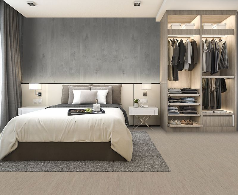 Grey Cork Flooring 12mm Gray Bamboo Floating Modern Bedroom Suite Modern Bedroom Closet Bedroom