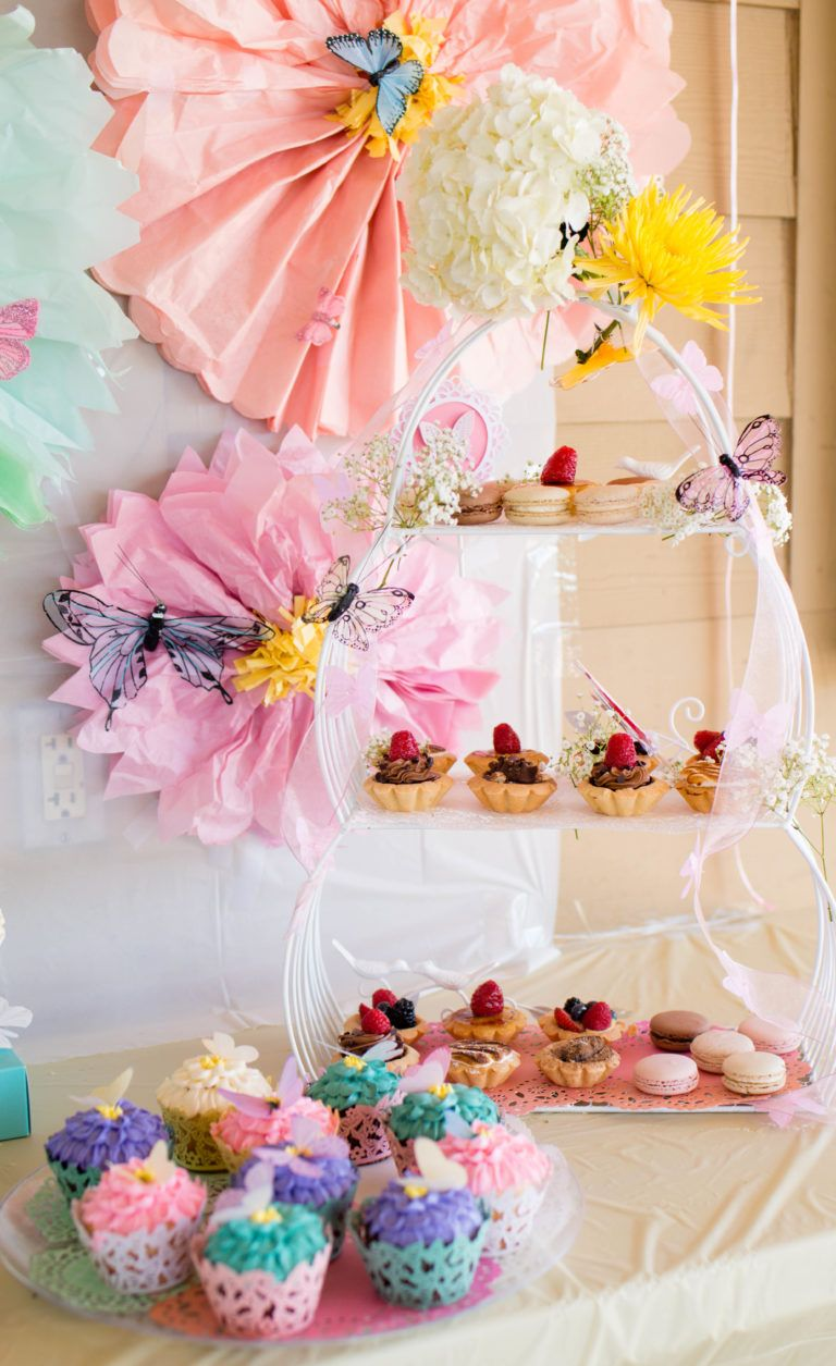 Lanas butterfly flower garden 1st birthday party kids party decor pretty sweets table at this garden fairy 1st birthday party izmirmasajfo