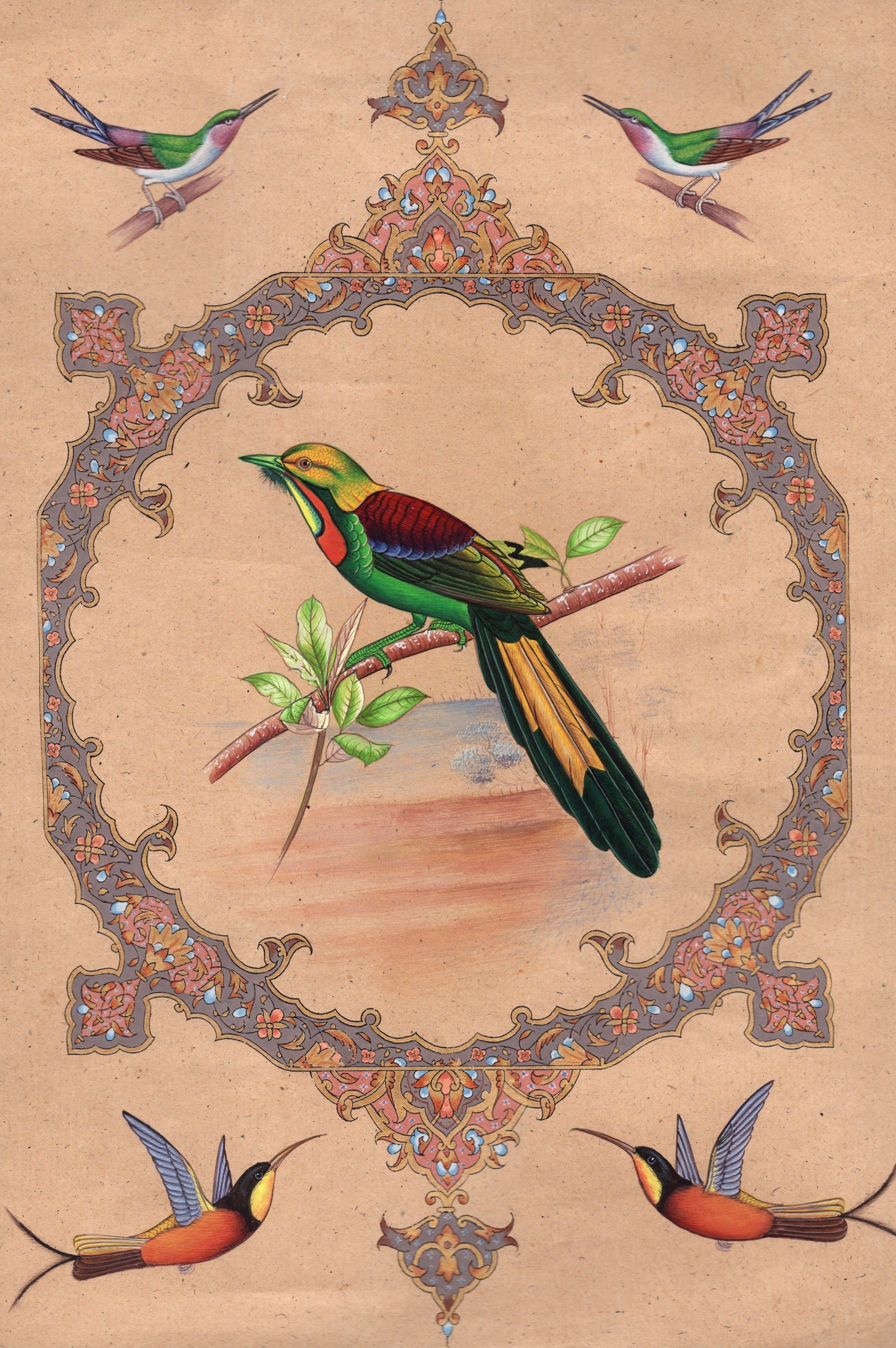 Islamic Floral Motif Bird Painting Handmade Miniature Decor Nature Ethnic Art