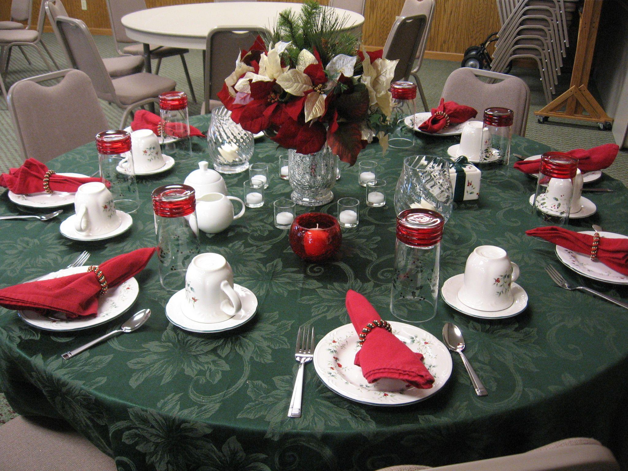 Christmas ladies' tea table Christmas tea party