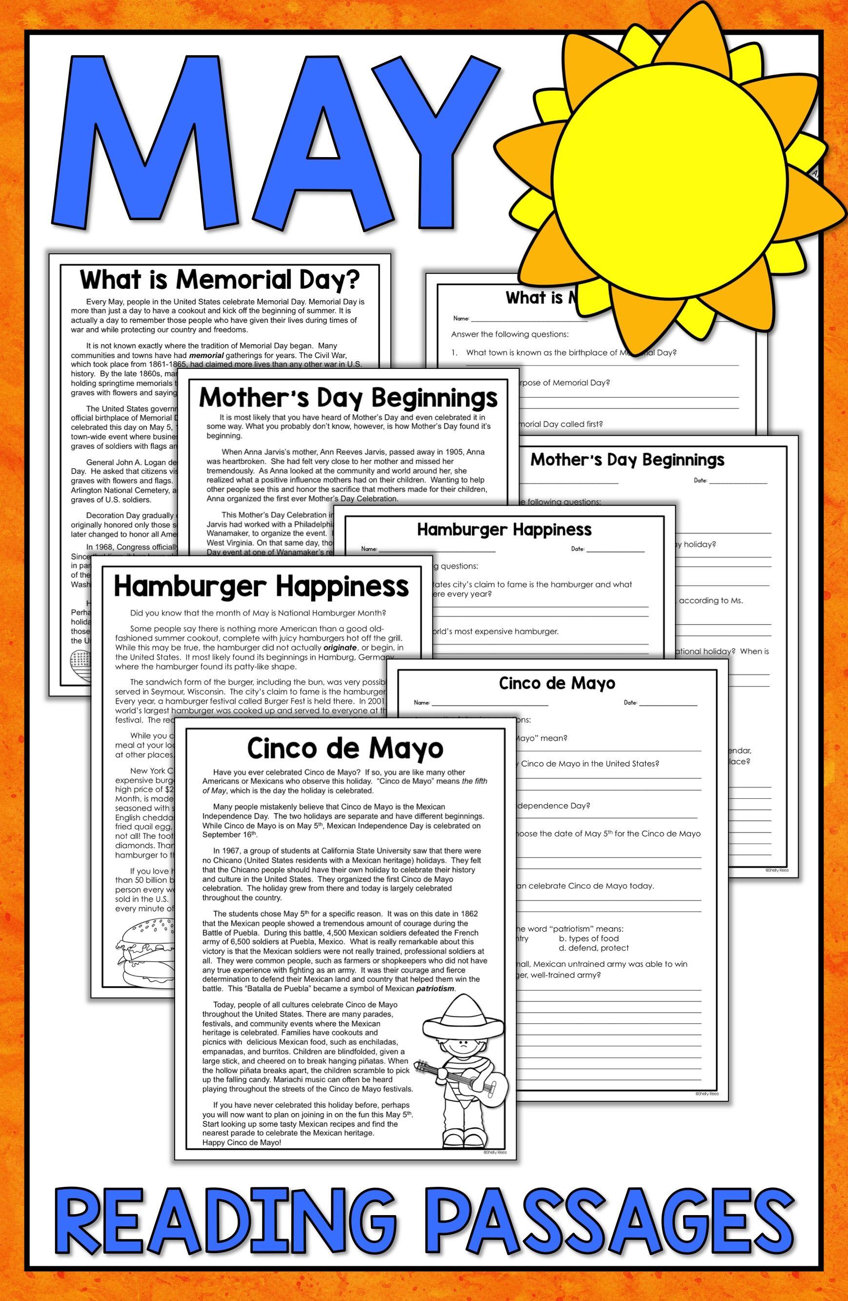 Memorial Day Reading Worksheets