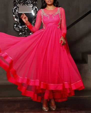 Neon Pink Anarkali Suit with Embellished Pattern