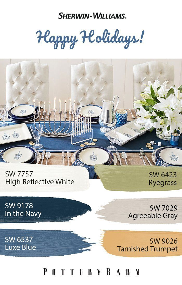 Hanukkah Decorations, Hanukkah Lights & Menorahs #sherwinwilliamsagreeablegray A #table set to display good taste and Sherwin-Williams' paints to match. For colors similar to this arrangement, use hues like In the #Navy SW 9178 and Agreeable #Gray SW 7029. Click through to #shop for #Hanukkah #décor from @PotteryBarn. #sherwinwilliamsagreeablegray
