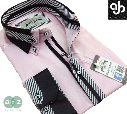 Mens Formal Smart Pink, Black Double Collar Italian Causal Stripe ...
