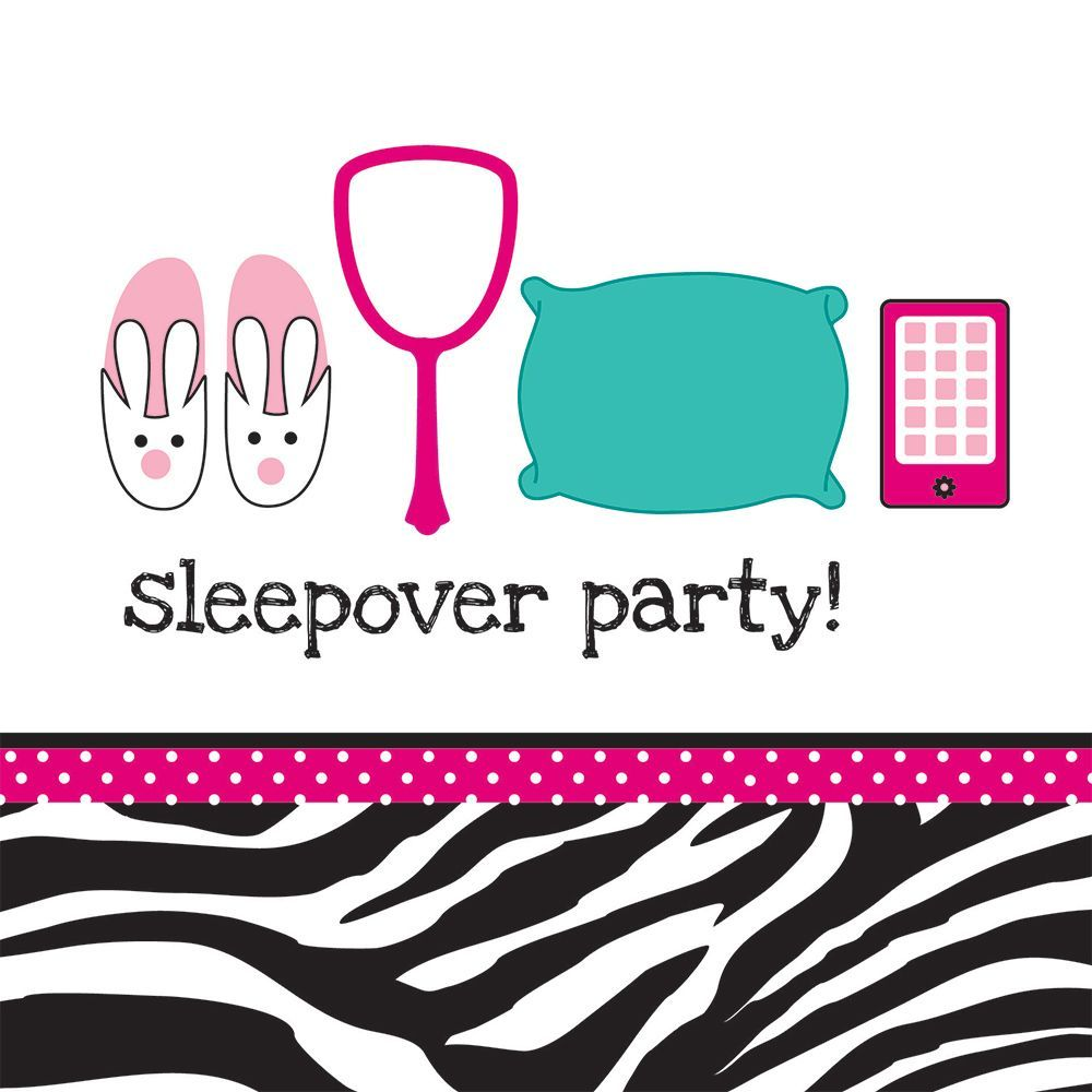 Pink Zebra Boutique Lunch Napkins, 3-Ply, Sleepover (16 Pack)
