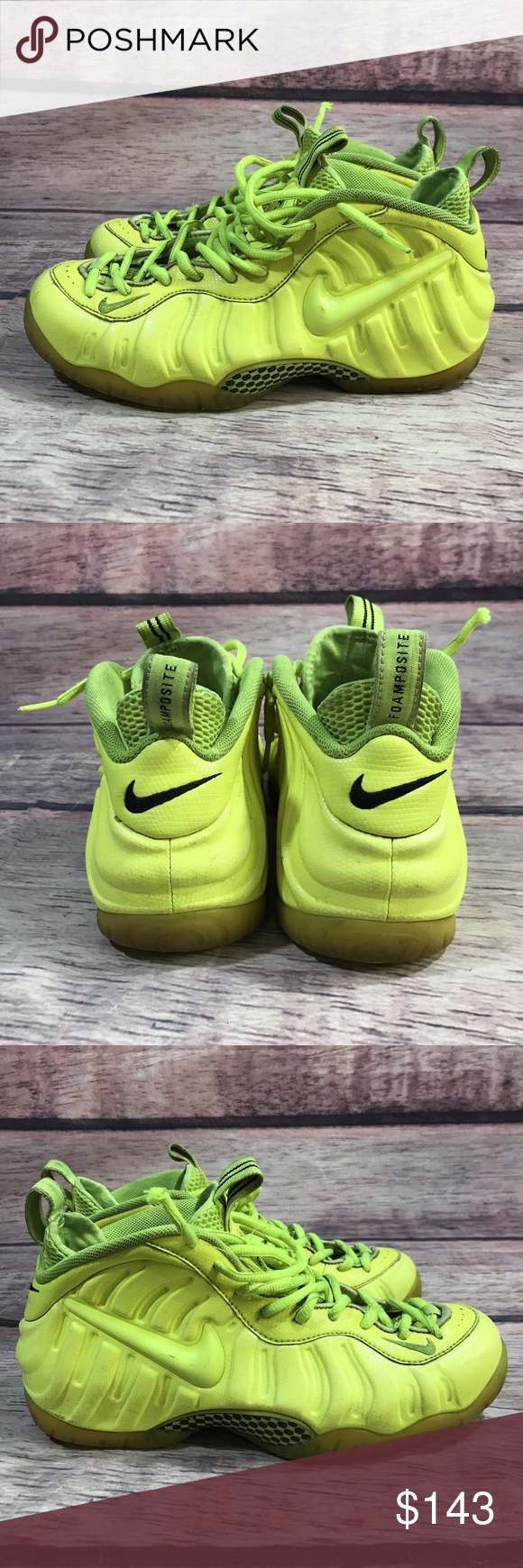 "buy popular 9a2f4 0d96b Nike Mens Tennis Ball Athletic Shoes Yellow Sz 10 Nike Air FOAMPOSITE PRO "" Volt"" Tennis Ball Neon Yellow 624041 700 Men s Sz 10 Condition  Pre-owned  Product ..."