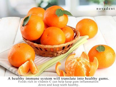 A healthy immune system will translate into healthy gums.  Foods rich in vitamin C can help keep gum inflammation down and keep teeth healthy.