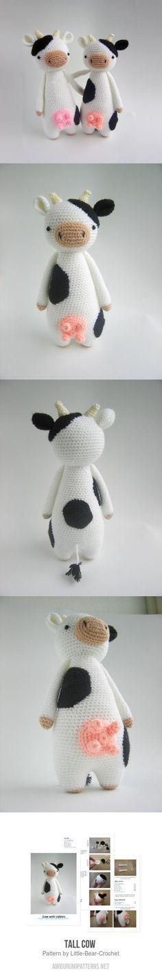 Tall Cow amigurumi pattern by Little Bear Crochet