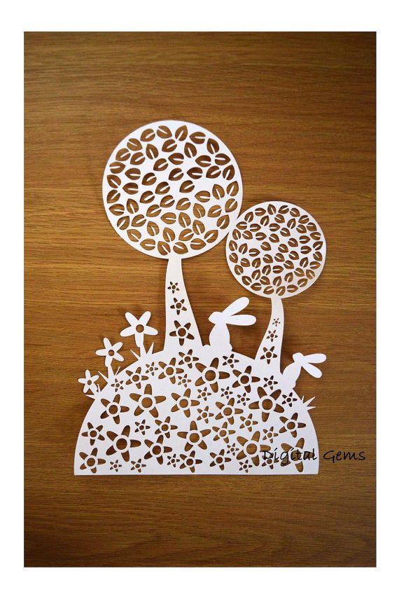 Paper Cut Template Cute Rabbit And Tree Design By Digitalgems