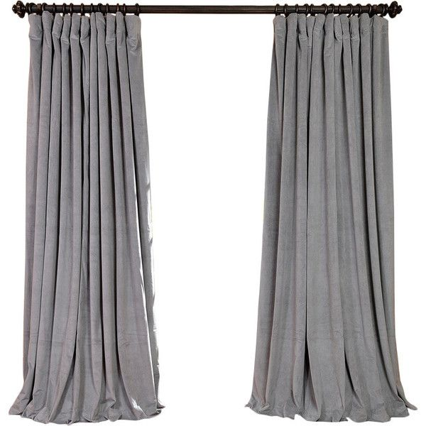 Velvet Rod Pocket Blackout Curtain Panel In Silver Fit For Royalty Liked On Polyvore Featuring Home Home Decor