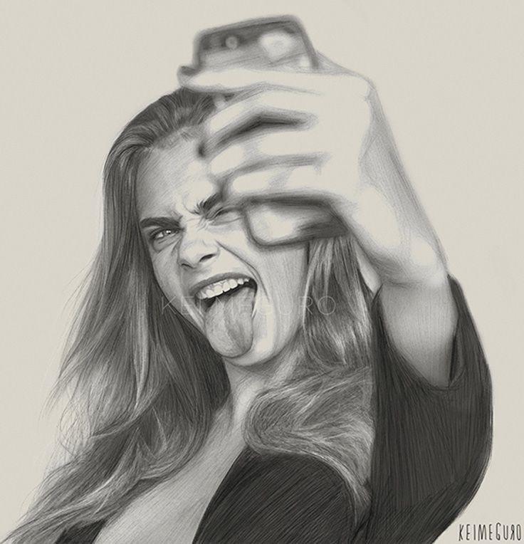 """Selfie"" - Kei Meguro (Tokyo born artist), charcoal, pencil, photoshop {contemporary figurative realism art female head camera phone woman face tongue portrait pencil drawing #loveart} keimeguro.com"