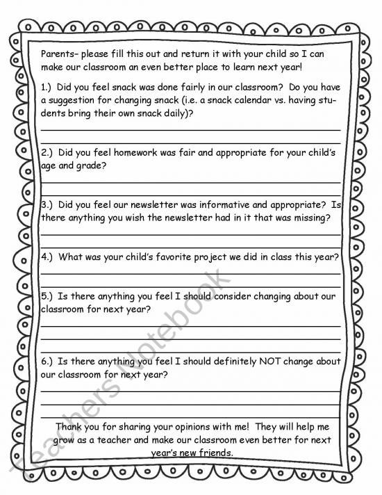 End Of The Year Parent Feedback Form From Mrs Bainbridges Shop On