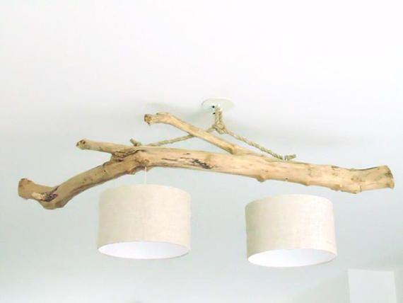 lustre plafonnier en bois flott lin 30cm cr ation unique. Black Bedroom Furniture Sets. Home Design Ideas
