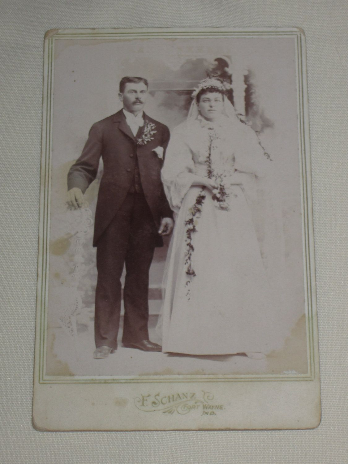 Vintage Cabinet Card - Wedding Couple - Bride in White - Indiana. $5.50, via Etsy.