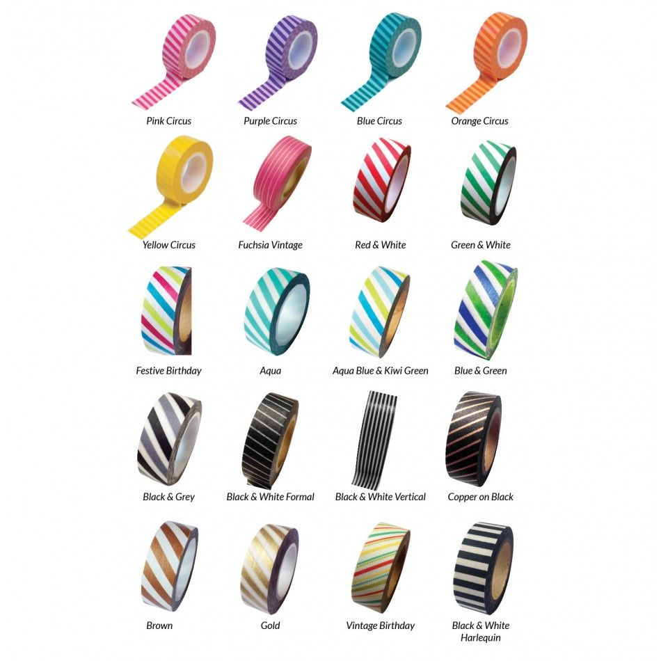 Striped Japanese Paper Washi Tape - Available in 20 Styles ...
