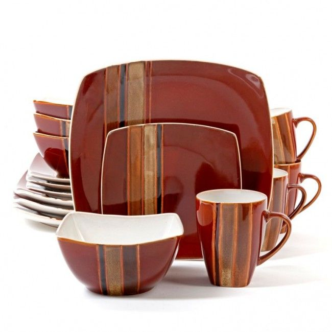Regent Classic 16-Piece Square Dinnerware Set Red  sc 1 st  Pinterest & Regent Classic 16-Piece Square Dinnerware Set Red | things I want ...