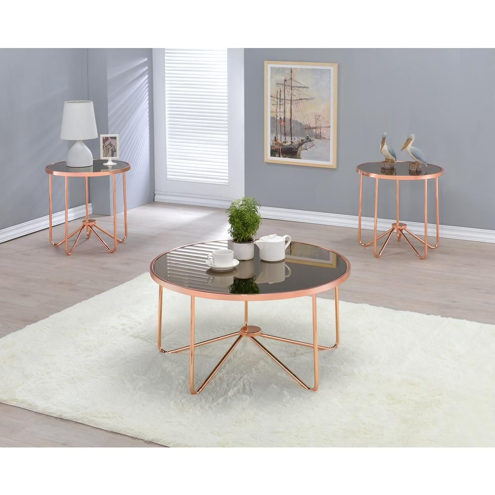 Acme Furniture Alivia 34 In Rose Gold Medium Round Glass Coffee Table 81840 The Home Depot Gold Coffee Table Coffee Table Living Room Coffee Table [ 1000 x 1000 Pixel ]