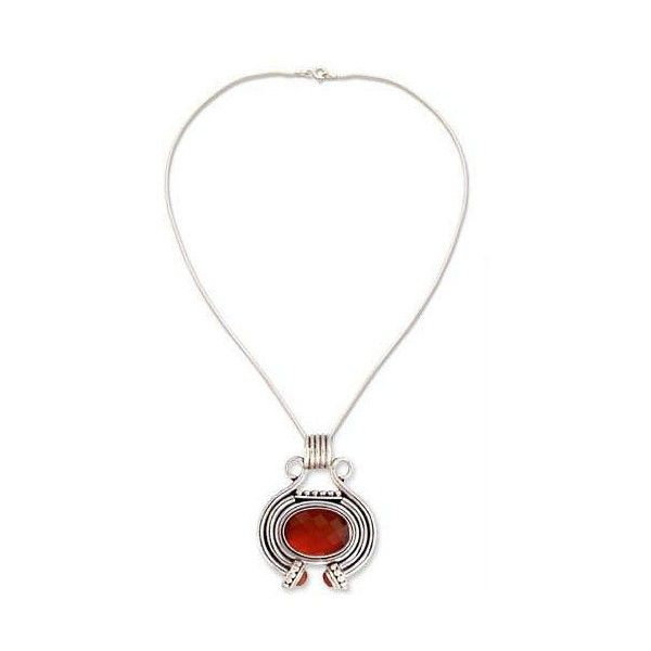 NOVICA Women's Jewelry Sterling Silver and Carnelian Necklace ($98) ❤ liked on Polyvore featuring jewelry, necklaces, carnelian, pendant, novica, carnelian necklace, pendant necklace, sterling silver pendants and sterling silver pendant necklace