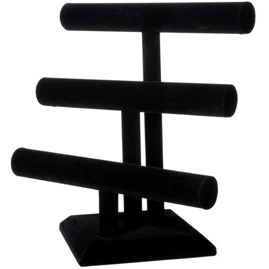 Darice Triple Bar Black Velvet Jewelry Stand