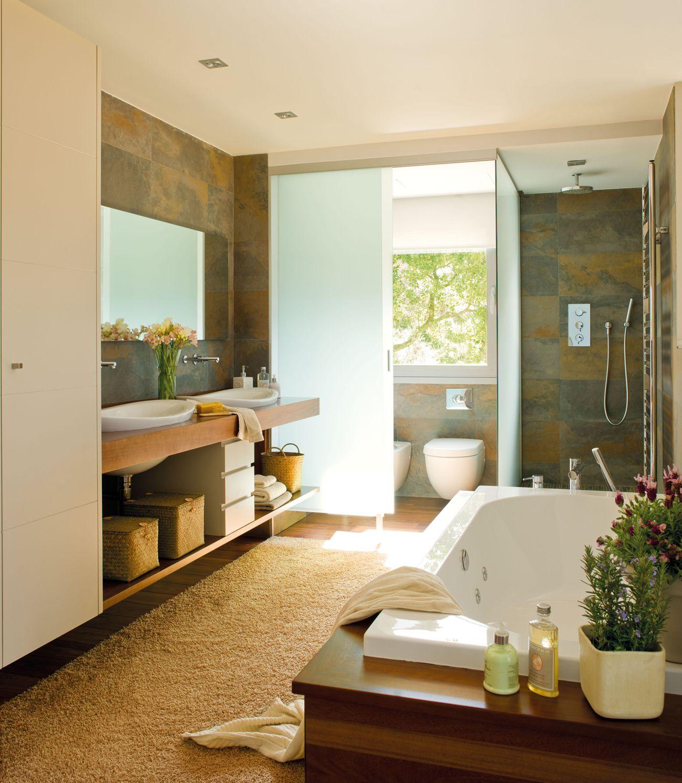 Vigas vistas de madera | Diseño de baños, Baño de lujo ...