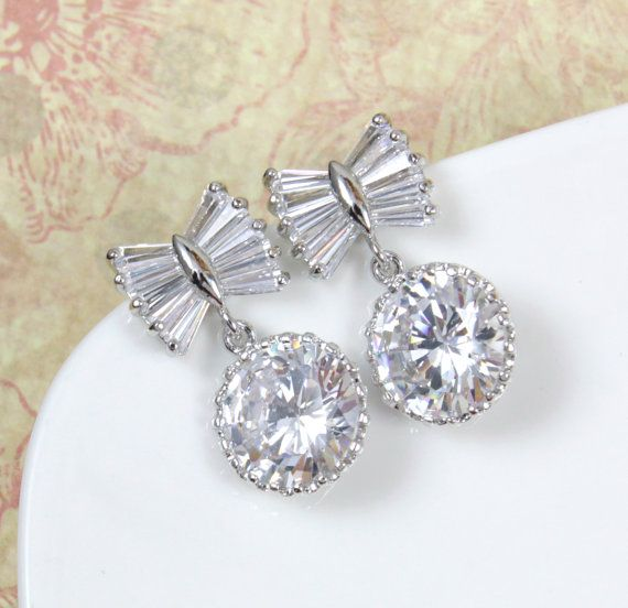 Bow Tie Bridal Earrings Bridesmaids Clear Round Cubic Zirconia Crystal Drop Earrin Bridal Accessories Jewelry Bridesmaid Earrings Beautiful Jewelry