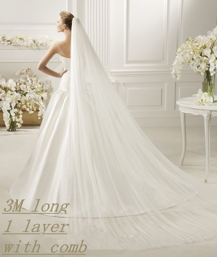New White//Ivory 1T 3M Wedding Bridal Long Veil Cathedral With Comb