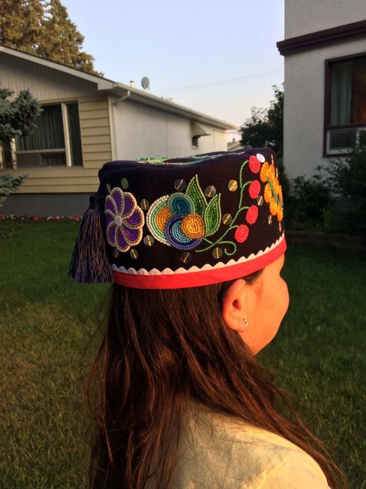 217a68b5891c2 Ojibwe floral pillbox hat with silver sequins and navy tassel. August 2017