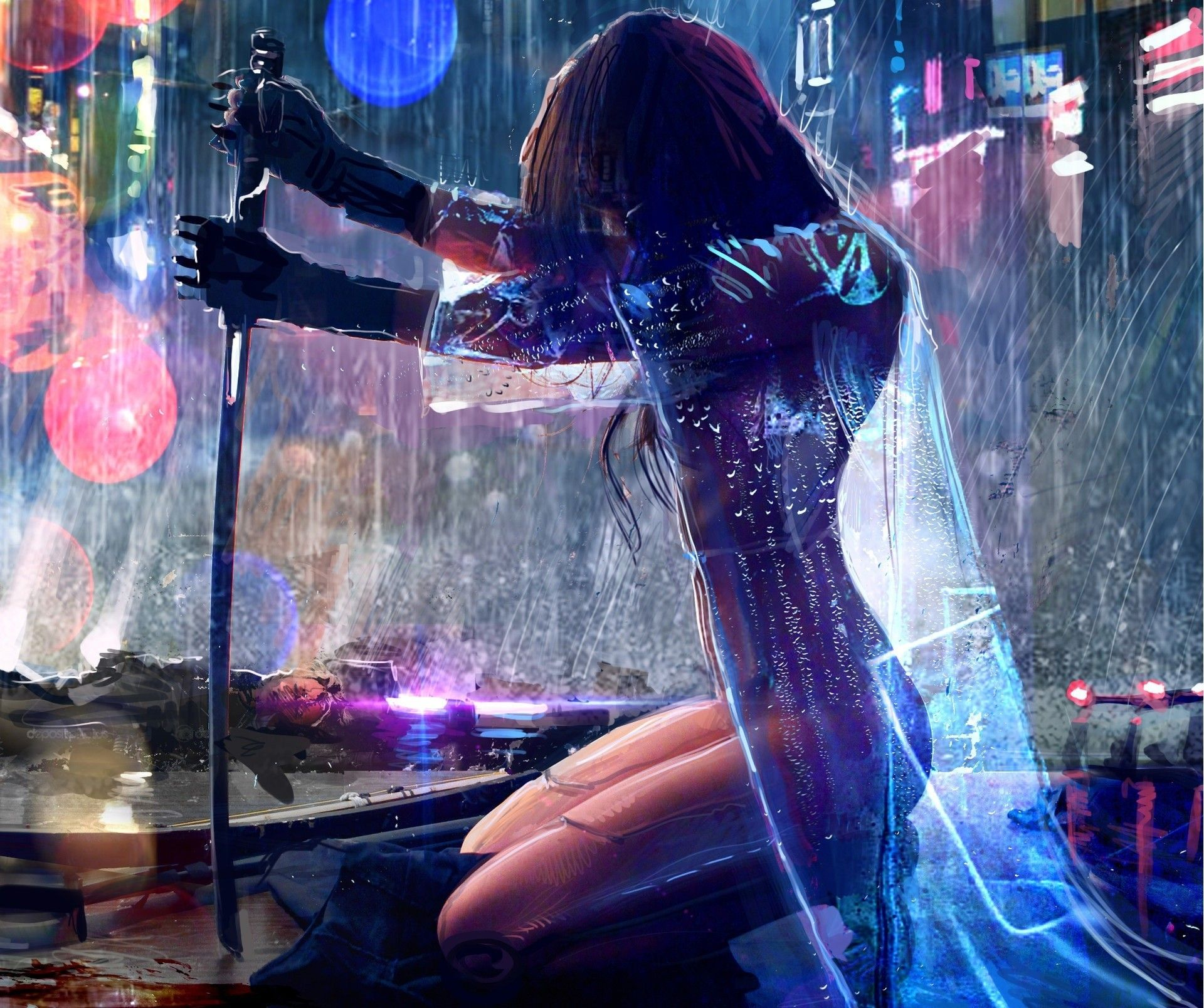 Women warrior artwork sword rain cyberpunk cyberpunk woman warrior women warrior artwork sword rain cyberpunk cyberpunk awesome desktop hd wallpaper voltagebd