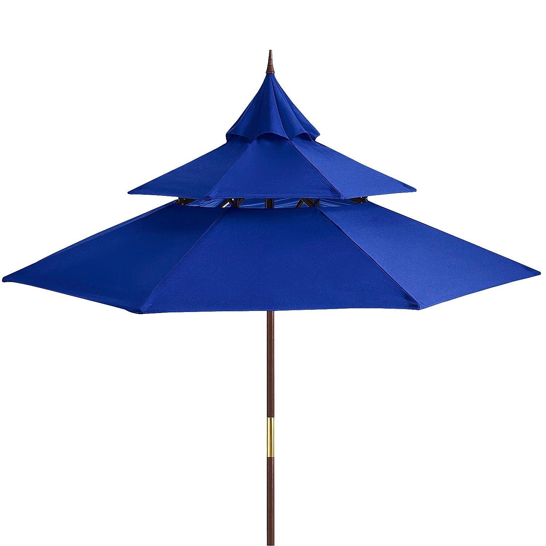 Pagoda 9u0027 Cobalt Wood Patio Umbrella
