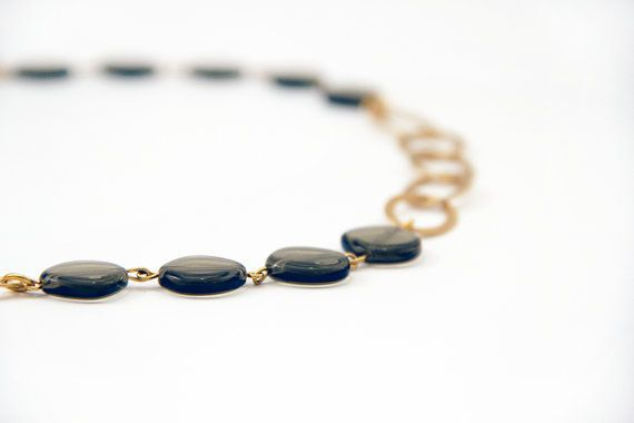 Grey glass beads and gold necklace by SigalDesign on Etsy, $51.00