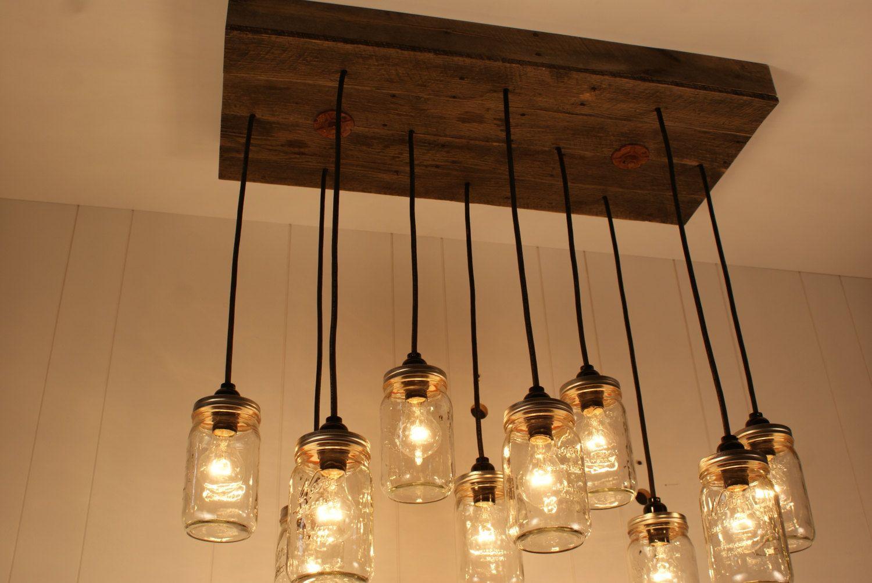 Mason jar chandelier mason jar lighting upcycled wood 37500 mason jar chandelier mason jar lighting upcycled wood 37500 via etsy arubaitofo Images