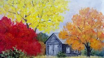 Easy Autumn Trees Landscape With Barn Acrylic Painting