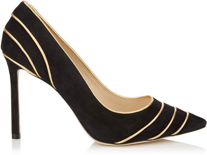 b396b05f06 Jimmy Choo ROMY 100 Black Suede Pointy Toe Pumps with Gold Metallic Nappa  Leather Piping